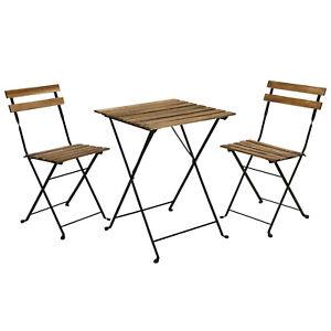 3 Piece Patio Furniture Bistro Set Outdoor Garden Wood Metal Table Folding Chair