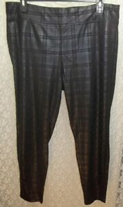 HUE Black Plaid Foil Leggings Textured Stretch Pull-On Style 18583 Sz 2X New $52