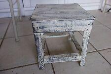 Vintage Eisen Tischchen Beistell Blumentisch Hocker 27x24x24cm Alt Weiß Shabby *