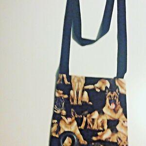 German Shepherd dog walking shoulder BAG handmade 2  pockets  poo bag dispenser