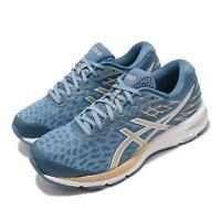 Asics Gel-Cumulus 21 Blue Champagne Gold Women Running Shoe Sneaker 1012A676-400