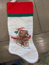 New listing Vintage Morehead Felt Stocking Teddy Bear Mouse On Sled