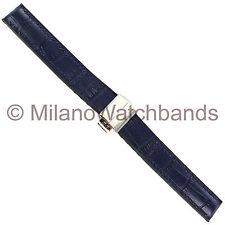 16mm Hirsch Amazon Corvette Navy Blue Alligator Grain Genuine Leather Watchband