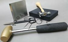 Jewelry Making Starter Kit Brass & Chasing Hammers Rubber & Steel Blocks Shears