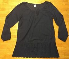 J. Crew Women's Navy Blue V-Neck Long Sleeve Dress / Cover Eyelet - Size: Small