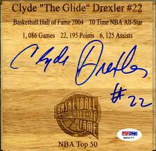 Clyde Drexler SIGNED Floorboard #22 Trailblazers Rockets HOF PSA/DNA AUTOGRAPHED
