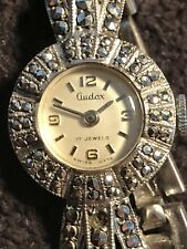 Vintage Solid Silver Marcasite Audax Bracelet Watch With Safety Chain