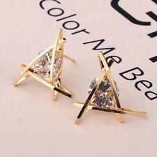New Women Jewelry 925 Sterling Silver Triangle  Crystal Hook Stud Earrings UK