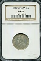 CANADA - FANTASTIC HISTORICAL GEORGE V SILVER  25 CENTS, 1935, NGC GRADED AU 58