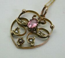 Lovely Art Nouveau 9ct Gold Seed Pearl And Pink Tourmaline Pendant And Chain