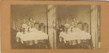 Scène de genre La dégustation du vin Photo Stereo Vintage Albumine ca 1865