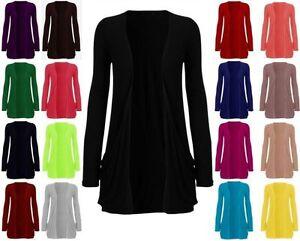 Ladies New Full Sleeves Open Boy Friend Pocket Cardigan Women Top Plus Size 8-26