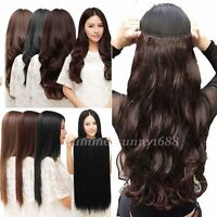 Long Straight Curly half full head Clip in Hair Extensions Black Brown Blonde