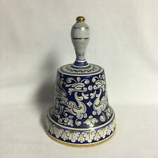 Ceramic Blue & White Large Bell With Gold Highlights #20839
