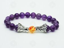 Women Double Dragon Amethyst Bracelet Chinese Wealth Success Power Stone Gift UK