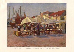 Fischmarkt in Swinemünde XL Kunstdruck 1927 Karl Säwert * in Tornow Swinoujscie
