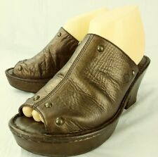 Born Wos Shoes US 9 M Metallic Brown Leather Studded Slip-On Mules Clogs 1224