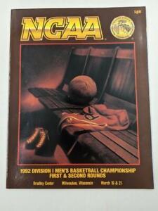 NCAA Tourney Program First and Second Round 1992 – Milwaukee Wisc Bradley Center