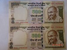 - INDIA PAPER MONEY - 2  'MG'  NOTES - RUPEES 500/- 2013-TWO SIGNATORIES# E22