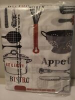 Bistro Valance & Tiers Kitchen Cafe Curtain Set Black White Gray Red NEW