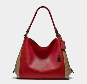 NWT $395 Coach Dalton 31 Signature Canvas 76078 Tan Apple Red shoulder bag