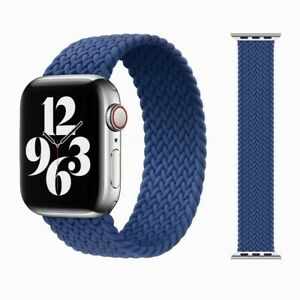 Braided Nylon Band for Apple Watch Strap Series 6 5 4 - 44mm Size - BLUE (Large)