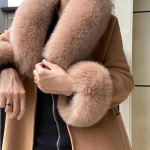 Women's Winter Real Fox Fur Collar Scarf Warm Scarves Shawl Wrist Cuffs One Set