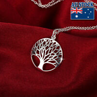 Classic 925 Sterling Silver Filled Hollow Tree Of Life Pendant Charm Necklace