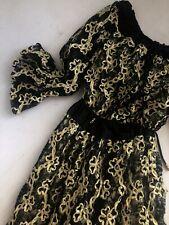 Diane Freis Gorgeous Lace Black And Gold Maxi Dress Circa 1980s
