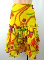 Ralph Lauren Black Label Floral Ruffle Tiered Midi Knee Length Skirt Sz 6 Yellow