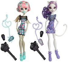 Monster High Rochelle Goyle & Catrine DeMew Ghoul Chat Poupée de collection rare cbx57