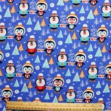 SNUGGLE FLANNEL *CHRISTMAS/HOLIDAY PENGUINS on BLUE* 100% Cotton Fabric NEW* BTY
