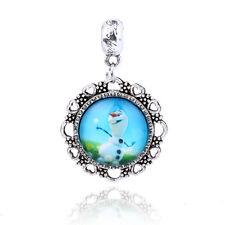 Retro Silver Snowman Cabochon Glass Pendant Dangle Charm Bead Fit Bracelet D090