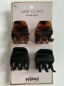 Scunci JAW CLIPS ( 4 pcs ) claw clip hold hair Women Girl Black Brown-spot gift