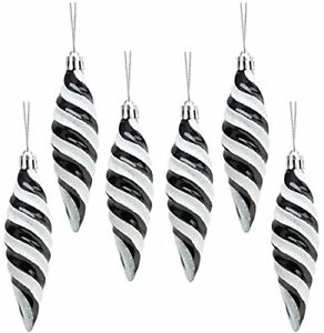 Christmas Concepts® Pack of 6-110mm Large Spiral Baubles-Black-(BA290)