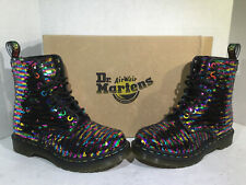 Dr. Martens Womens Size 6 EU 37 Pascal Sequin Rainbow Casual Work Boots ZB-638