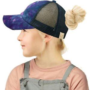 C.C Kids Criss Cross Ponytail Messybuns Baseball Cap Hat Distress Tie Dye Navy