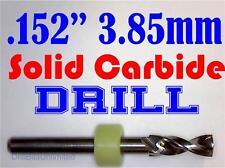".152"" 3.85mm  -Solid Carbide Drill Bit - 1/8"" Shank -Sharp! CNC Hobby Model -lu"