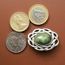 Connemara marble Celtic pewter brooch. Irish made Jewelry design craft Galway