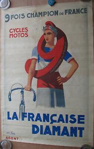 1 X AFFICHE : LA FRANCAISE DIAMANT . FORMAT : 118 X 80 CM . NON ENTOILEE .