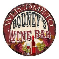Cmwb-0111 Welcome to Rodney'S Wine Bar Chic Tin Sign Man Cave Decor Gift