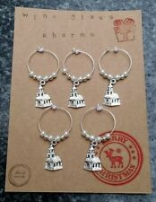 Christmas wine glass charms. Church gift set. White silver pearl colour.