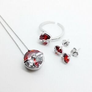 925 Sterling Silver 1.20 CT Cubic Zirconia Pokemon Pokeball Ring/Pendent/Earring
