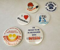 Milwaukee WI Vintage Pinback Button Lot of 6 - Summerfest Milwaukee Zoo etc.
