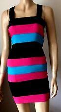 INTERNACIONALE Blue Black & Pink Striped Strappy Body Hugging Party Dress Size 8