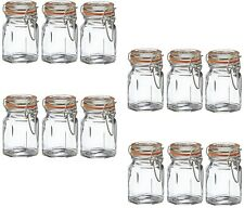 Set of 12 Clip Top Spice Jars Herbs Condiments Seasoning Pots Storage Containers