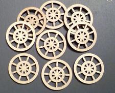 10 x Wooden Craft Wheel shapes Spinning Wheels Card Making Model Wheels 6cm
