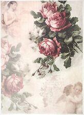 Carta di riso-VINTAGE ROSE ROSSE-Per Decoupage Decopatch Scrapbook Craft sheet