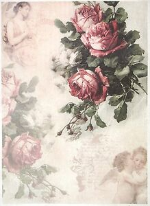 Rice Paper -Vintage Red Roses- for Decoupage Decopatch Scrapbook Craft Sheet