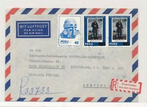 D174687(1) Peru Registered Airmail Cover 1981 Lima Dusseldorf Germany